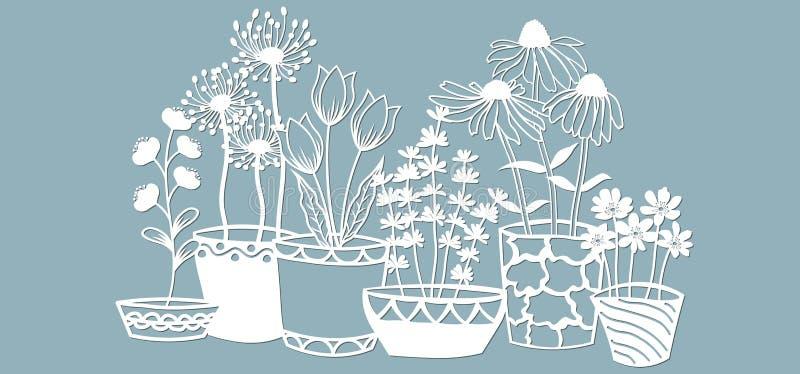 Echinacea, Kamille, schefler, edles hepatica, zephyrantes, Stokesia Auch im corel abgehobenen Betrag Papierblumen für Laser-Schni stock abbildung