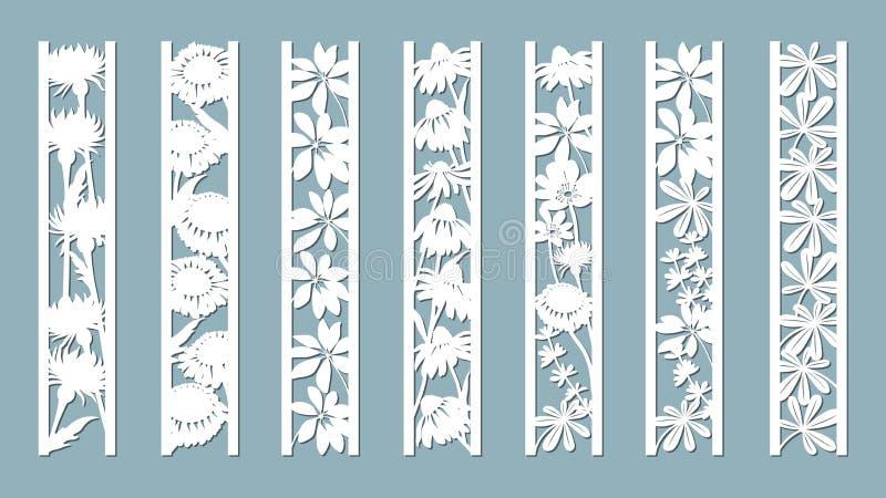 Echinacea kamomill, schefler, nobel blåsippa, zephyrantes, stokesia Paneler med den blom- modellen Blommor och lämnar Laser-snitt royaltyfri illustrationer