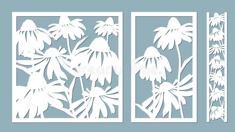 Echinacea också vektor för coreldrawillustration Pappers- blomma, klistermärkear Laser-snitt Mall för laser-klipp och plottare oc stock illustrationer