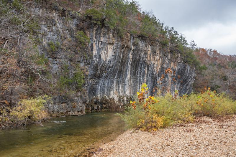 Echo Bluff. And Sinking Creek located in  State Park in the Ozarks of Missouri royalty free stock image