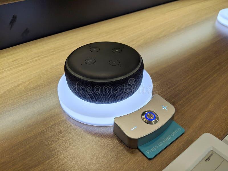 Echo Dot & x28;3nd Generation& x29; - Smart speaker with Alexa - Black on display. Honolulu - March 16, 2019: Echo Dot & x28;3nd Generation& x29; - Smart speaker stock image