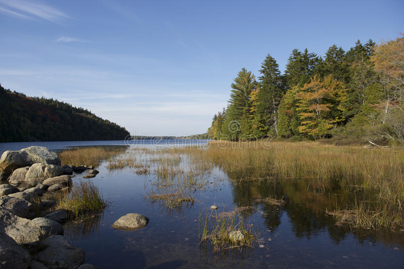 Echo Lake Beach, Maine, USA royalty free stock photography
