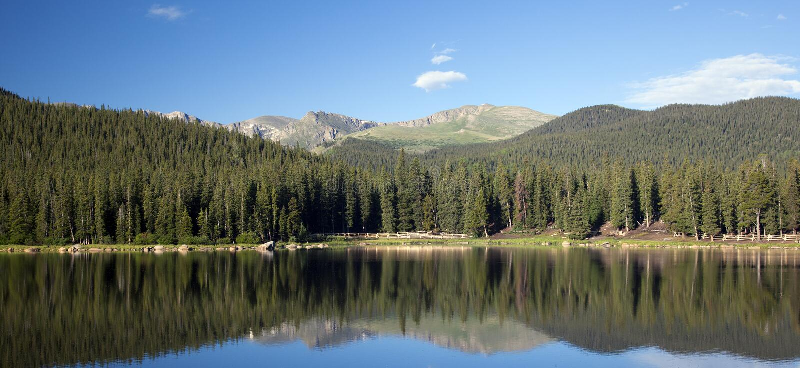 Echo Lake Colorado und Berg Evans stockbilder