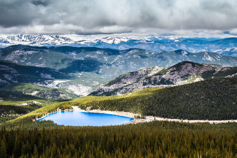 Echo Lake on Mt Evans Colorado stock photo