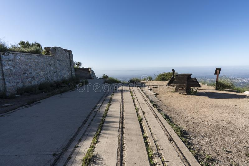 Echo Mtn Incline Railroad Ruins Los Angeles California. Historic incline railroad ruins on top of Echo Mtn in the Angeles National Forest above Pasadena and Los stock photo