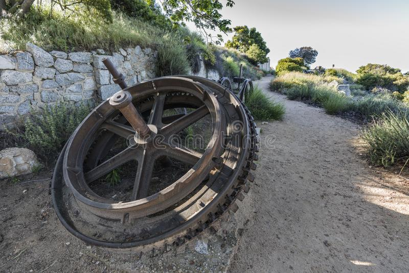 Echo Mtn Railway Ruins Los Angeles California. Historic incline railway cable pulley gears on top of Echo Mtn in the Angeles National Forest above Pasadena and royalty free stock photography