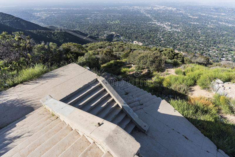 Echo Mtn Stairway Ruins Los Angeles California. Historic incline railway stairway ruins on top of Echo Mtn in the Angeles National Forest above Pasadena and Los stock image