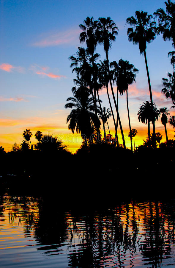 Echo Park Sunset, Los Angeles III stock foto's