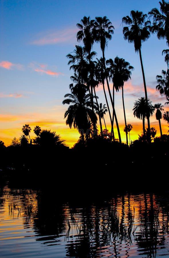 Echo Park Sunset Los Angeles III arkivfoton