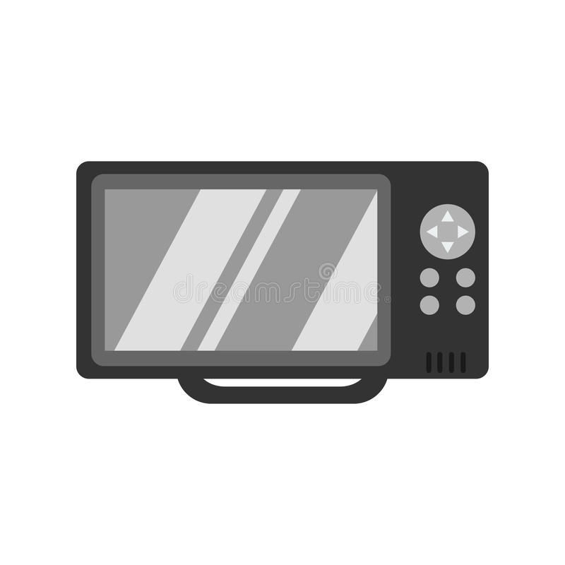 Echo sounder of black color in flat design. Device for locating fish under water. Vector illustration stock illustration