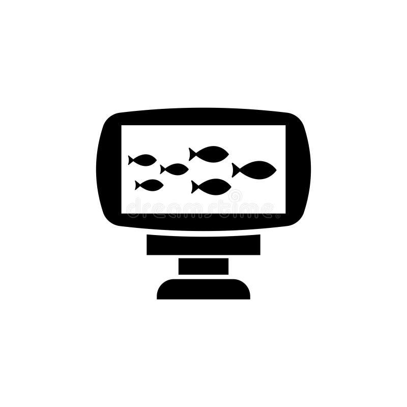 Echo Sounder, icône plate de vecteur de poissons de crochet de sonar illustration de vecteur