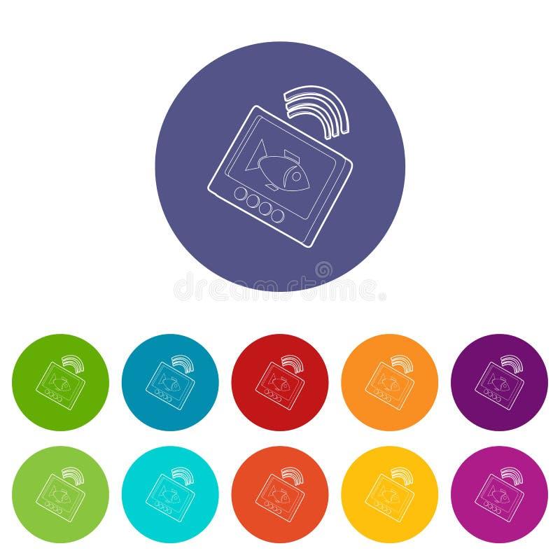 Echo sounder icons set vector color vector illustration
