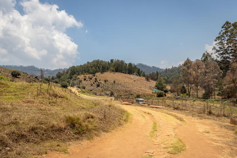Echo Village with leading road. Image is taken at kodaikanal showing the nature love of human royalty free stock photography