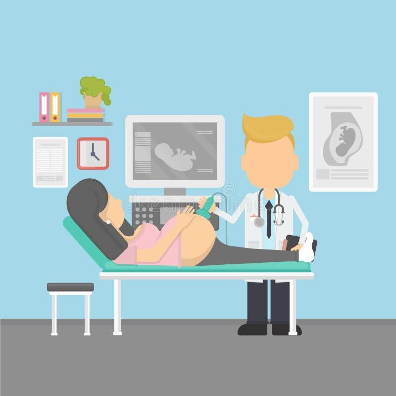 Echografie van zwanger stock illustratie