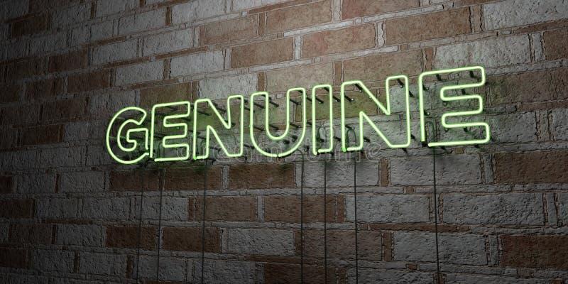 ECHT - Glühende Leuchtreklame auf Steinmetzarbeitwand - 3D übertrug freie Illustration der Abgabe auf Lager stock abbildung