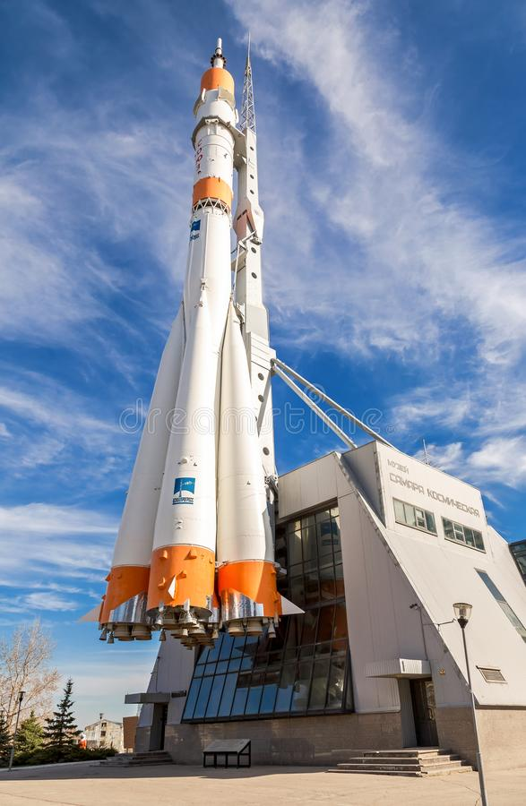 Echt Soyuz-ruimtevaartuig als monument en tentoonstellingscentrum van ruimte royalty-vrije stock afbeeldingen