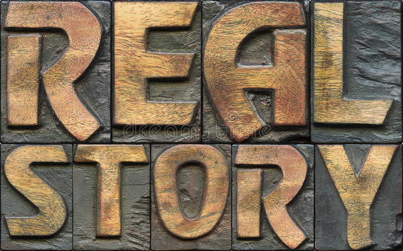Echt verhaal houten letterzetsel stock afbeeldingen