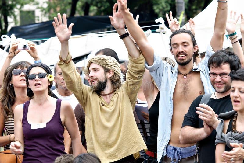 Echte democratie nu, Barcelona, Spanje royalty-vrije stock afbeeldingen