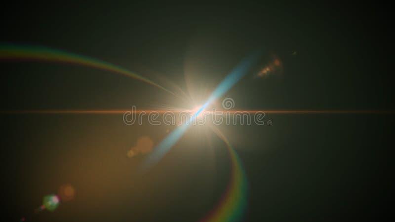 Echte die Lensgloed in Studio over Zwarte Achtergrond wordt geschoten Gemakkelijk om als Bekleding of het Schermfilterfoto's toe  stock foto