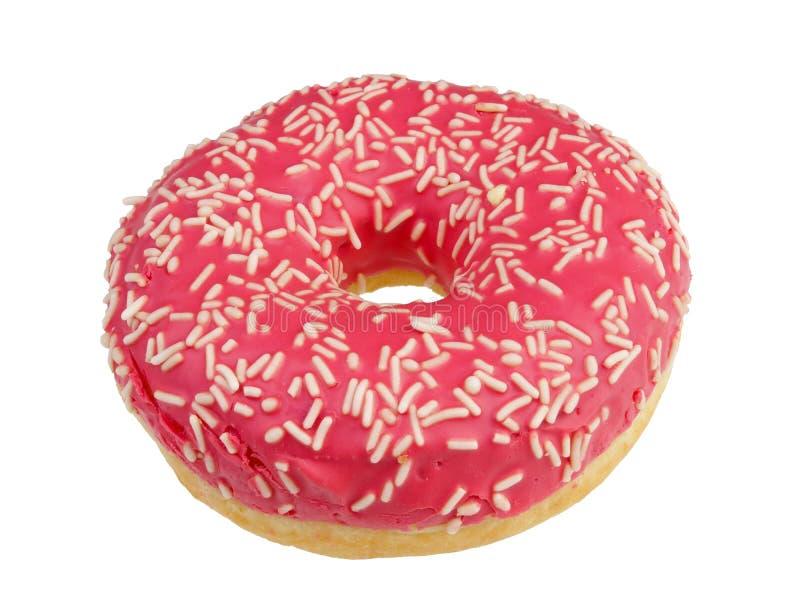 Echte doughnut met roze geïsoleerd aardbeisuikerglazuur stock afbeeldingen