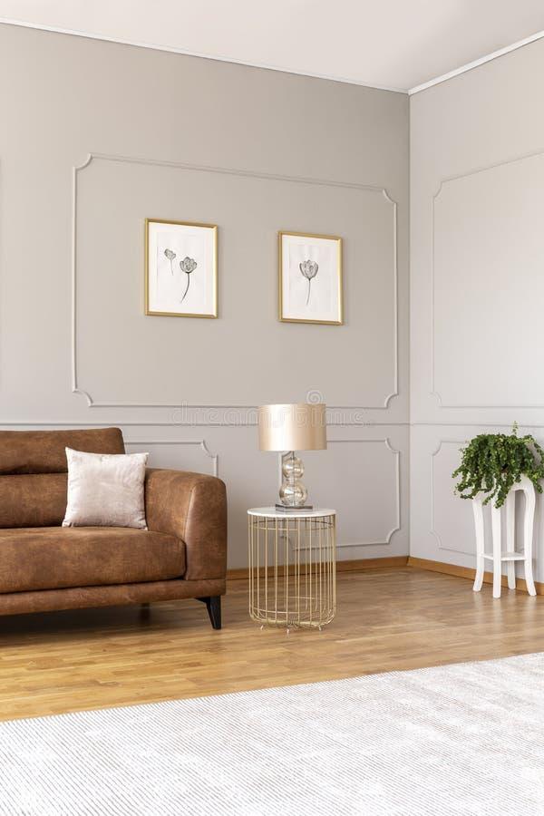 Echte foto van een elegante woonkamer met een bruine bank en lamp in een huurkazerne royalty-vrije stock afbeeldingen