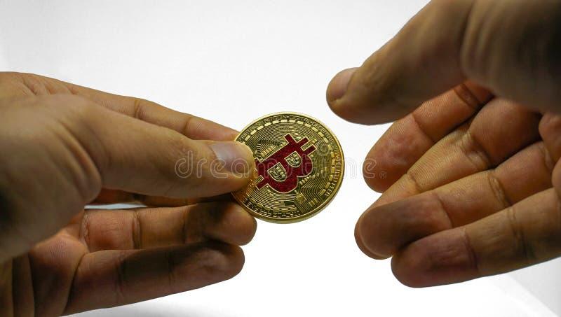 Echte Gouden Bitcoin in Lijst stock afbeelding