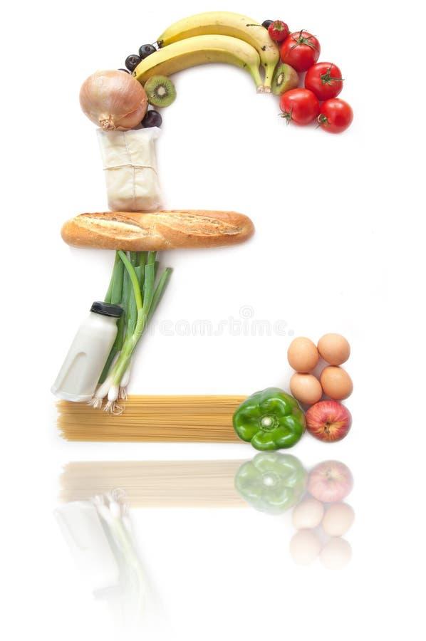Echte het voedselkruidenierswinkels van het pondteken royalty-vrije stock afbeelding