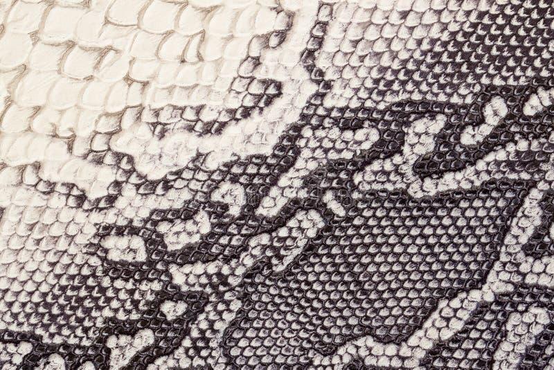 Echte leertextuur met imitatie van exotisch reptiel met met een interessant patroon, in beige achtergrond, royalty-vrije stock foto's