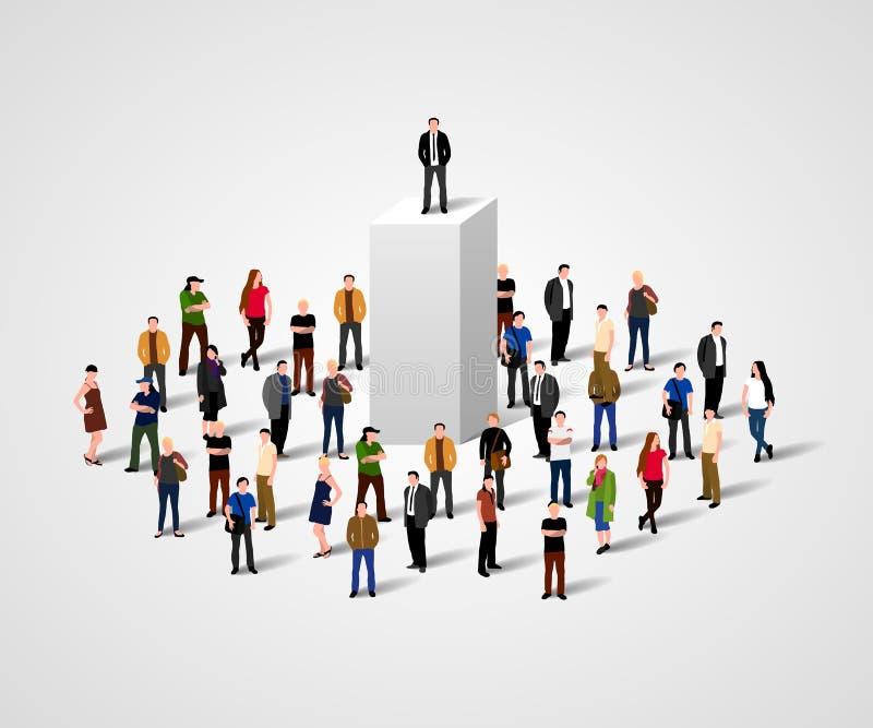 Echte Leider Bedrijfsmens op voetstuk in menigte Groot werkgever of superioriteitsconcept stock illustratie