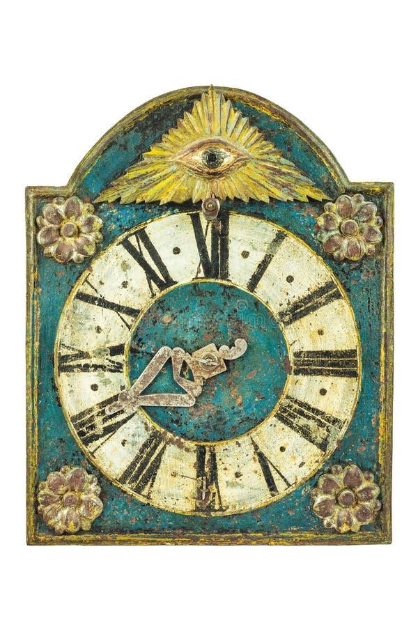 Echte middeleeuwse klok met oog stock afbeeldingen