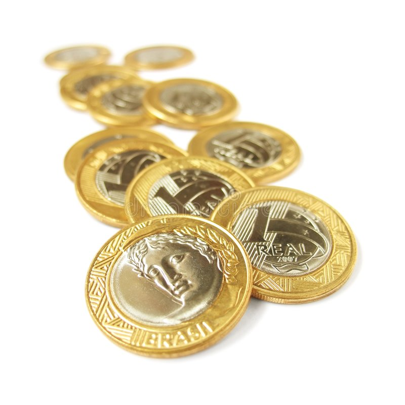 Echte muntstukken één - 4 stock afbeelding