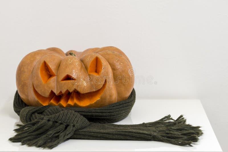 Echte oranje Halloween-pompoen met het snijden stock foto's