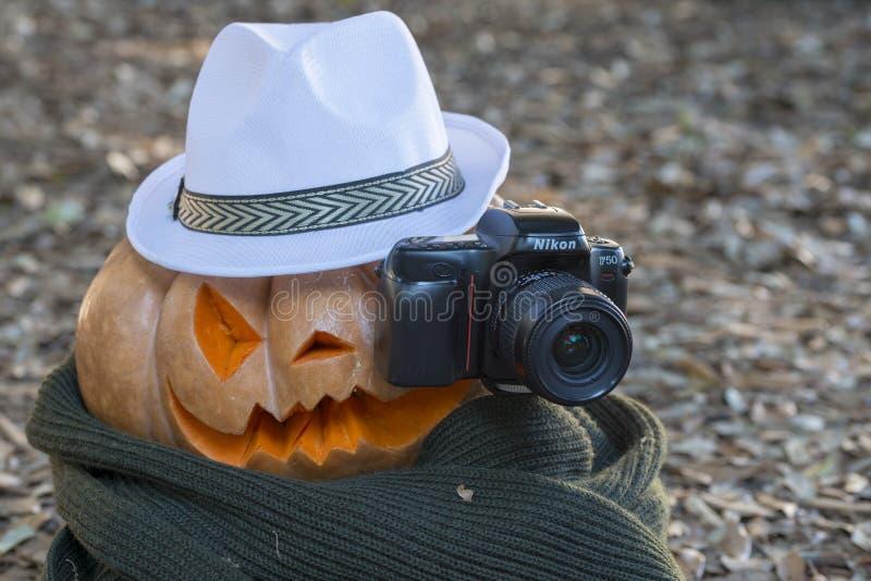 Echte oranje Halloween-pompoen met het snijden royalty-vrije stock foto
