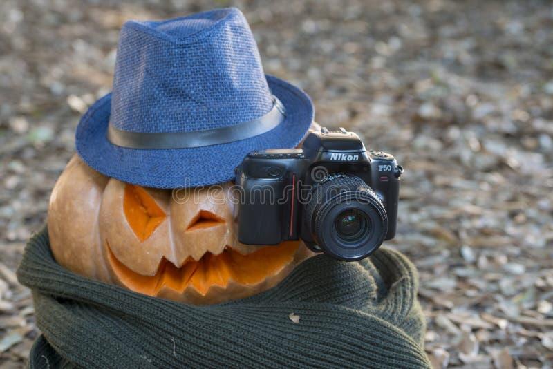 Echte oranje Halloween-pompoen met het snijden stock afbeelding