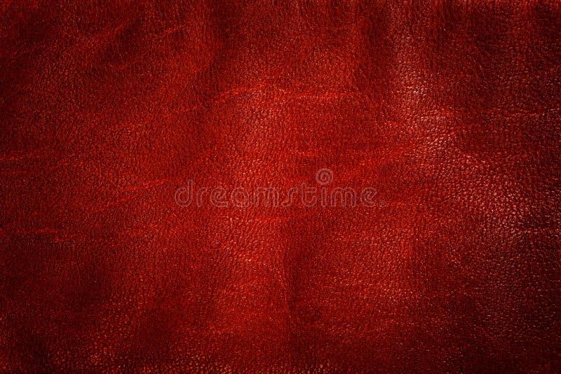 Echte rode leerachtergrond, patroon, textuur royalty-vrije stock foto's
