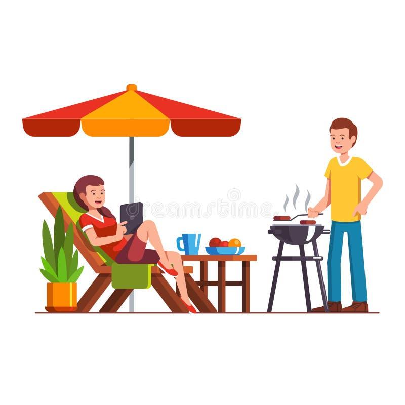 Echtgenoot die barbecue, vrouw doen die op lanterfanter liggen royalty-vrije illustratie