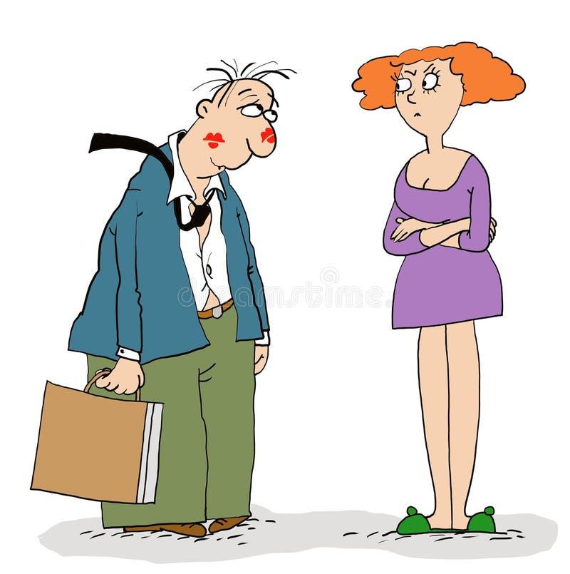 Echtgenoot en vrouw royalty-vrije illustratie