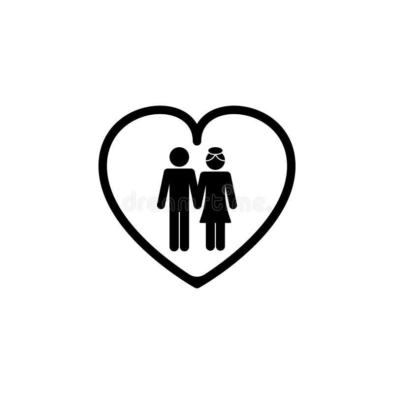 echtgenoot en vrouw in het hartpictogram Elementen van gelukkig familiepictogram Grafisch het ontwerppictogram van de premiekwali stock illustratie