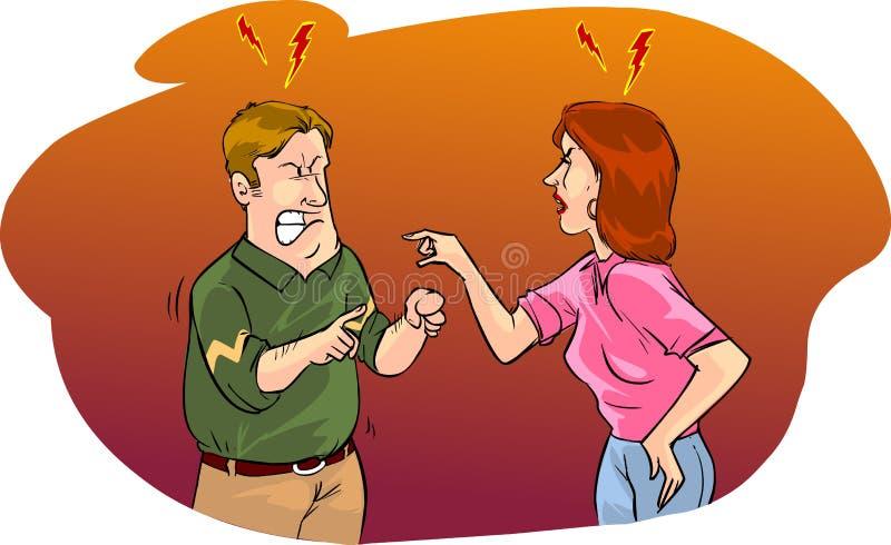 Echtgenoot en vrouwen het debatteren stock illustratie