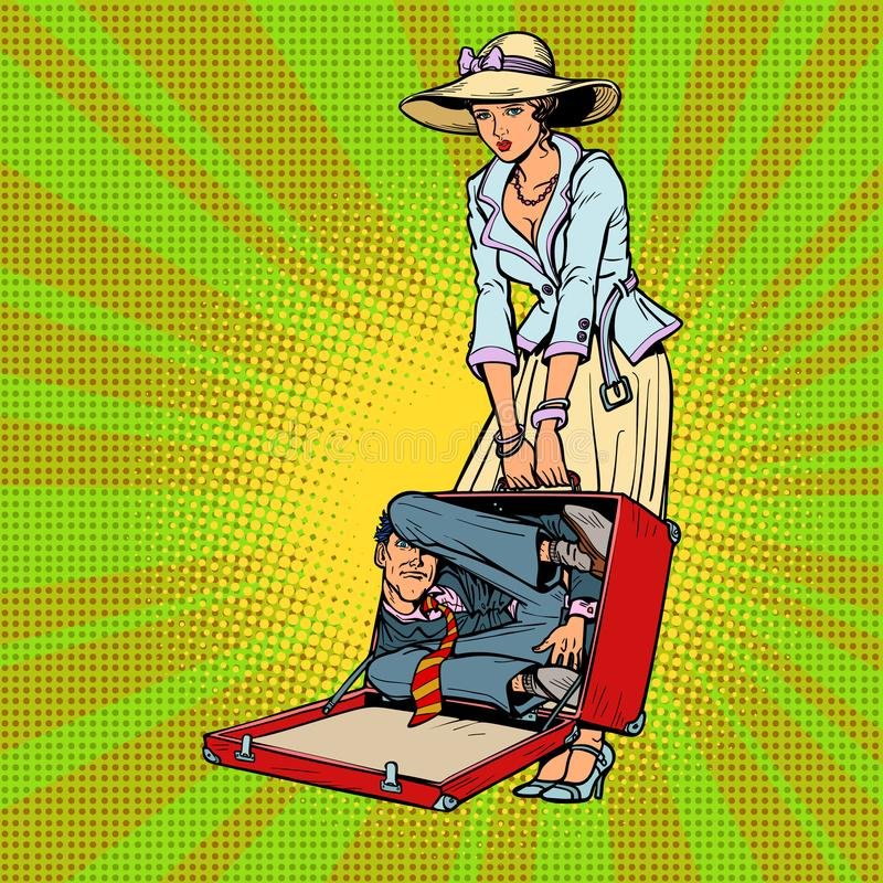 Echtgenoot in koffer Vrouw die op een weg lift stock illustratie
