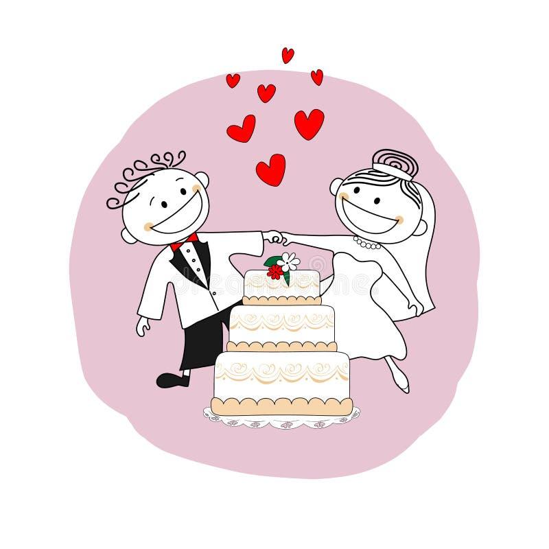 Echtpaar enkel, de kaart van de huwelijksuitnodiging stock illustratie