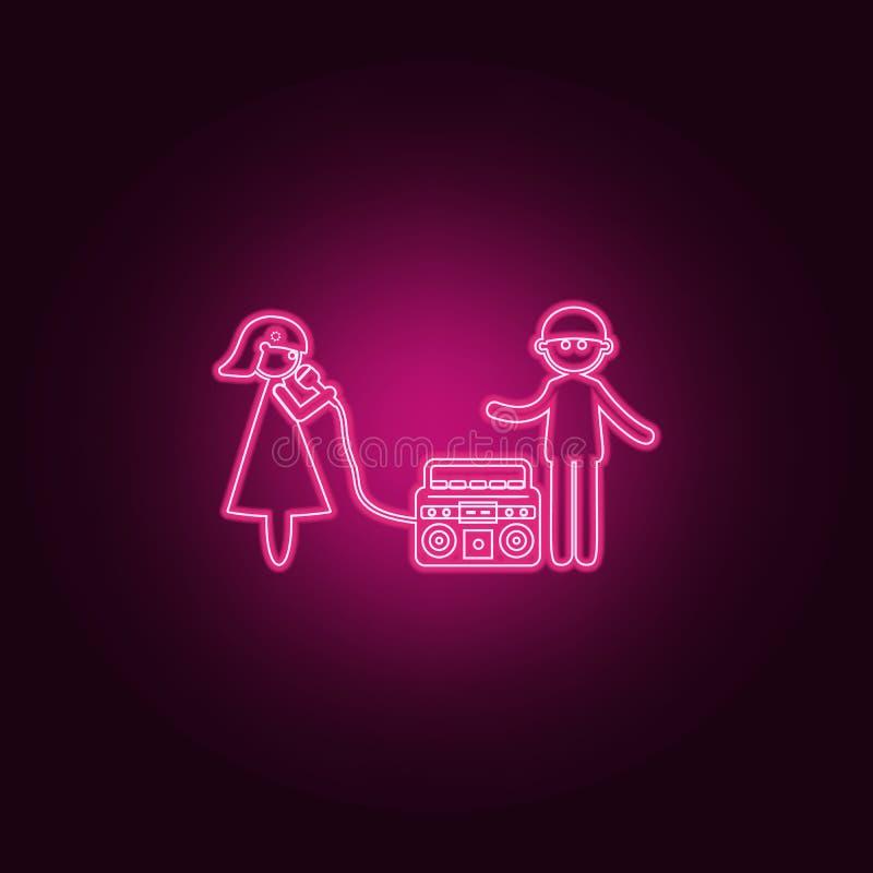 echtpaar op karaokepictogram Elementen van Familie in de pictogrammen van de neonstijl Eenvoudig pictogram voor websites, Webontw vector illustratie