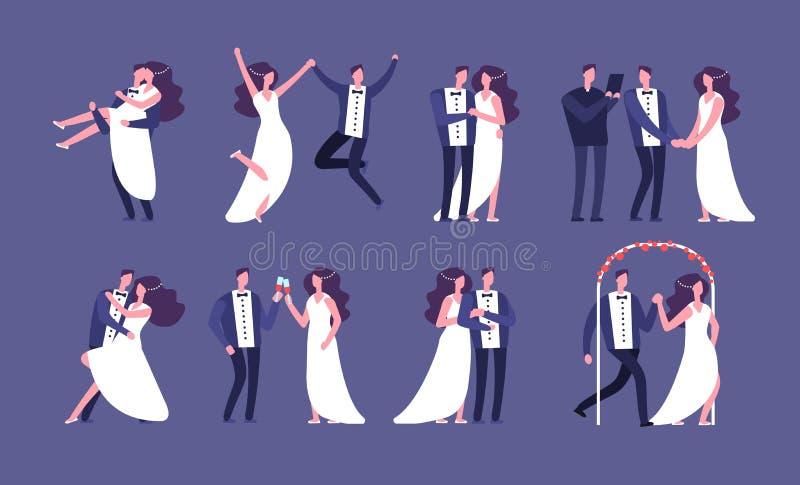 Echtparen Onlangs wed bruid en bruidegom, het beeldverhaalkarakters van de huwelijksviering Gehuwde enkel gelukkige mensen vector stock illustratie
