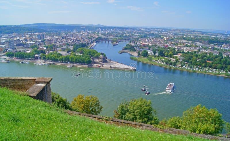 Eck alemán en Koblenz fotos de archivo libres de regalías