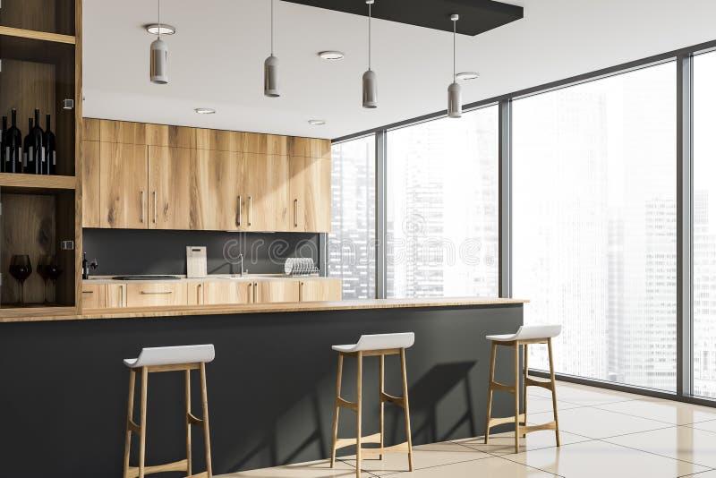 Ecke der grauen Küche des Dachbodens mit Stange stock abbildung