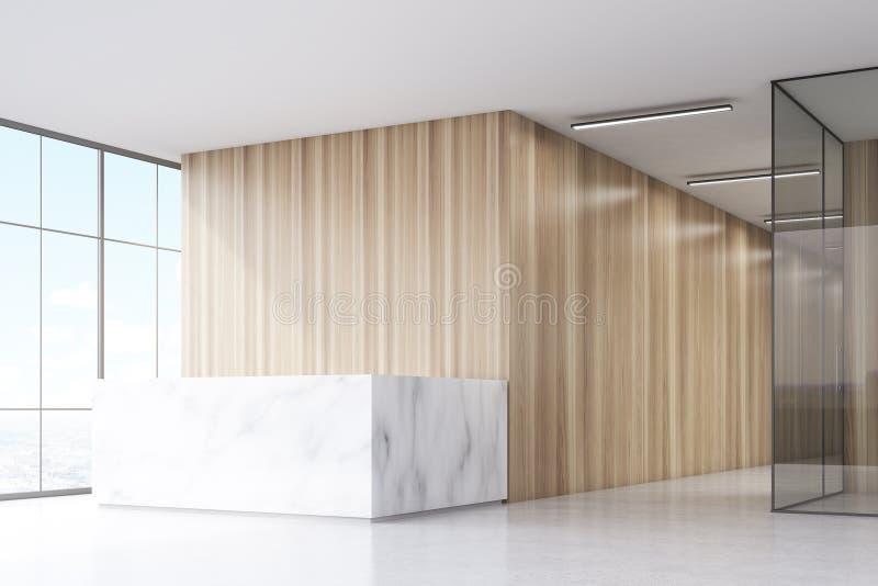 Ecke eines Büroflurs mit einem Marmoraufnahmezähler, hölzernen Wänden und einem panoramischen Fenster vektor abbildung
