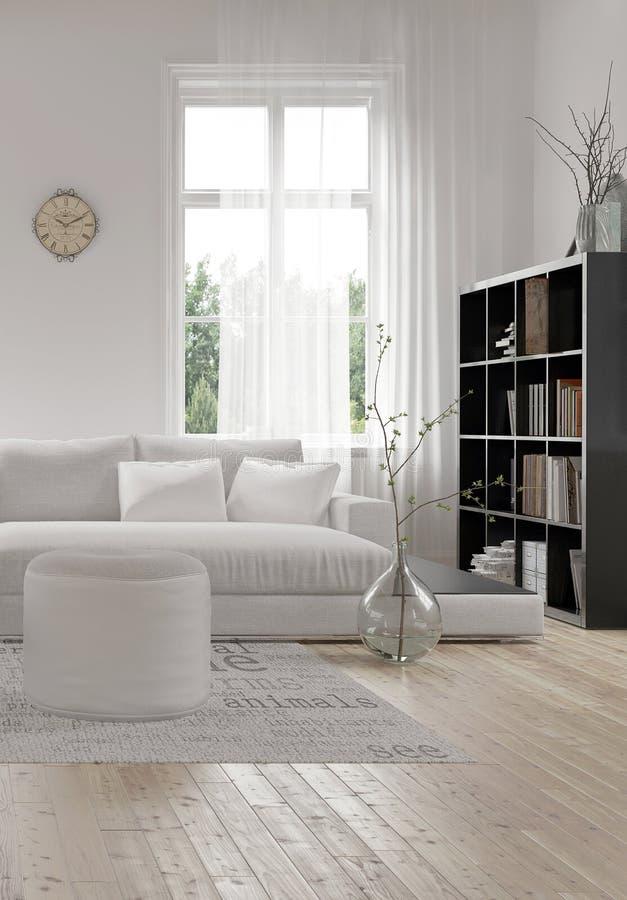 Ecke eines bequemen weißen modernen Wohnzimmers vektor abbildung