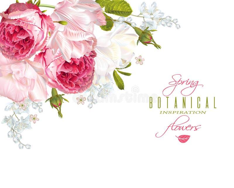 Eckfahne der romantischen Blumen stock abbildung