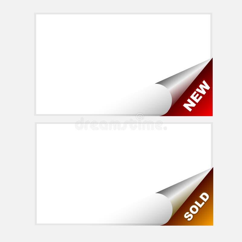 Eckgeschäftsverkehrangebot - neu, verkauft stock abbildung