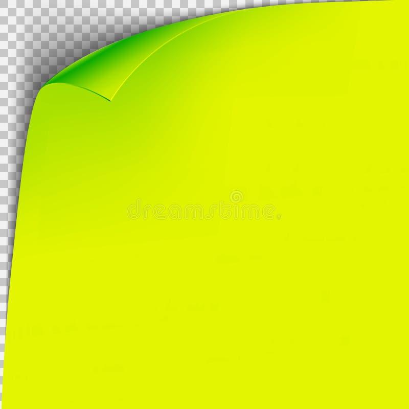 Eckgrünbuchschablone der Locke Transparentes Gitter Leere Hintergrundseite stock abbildung